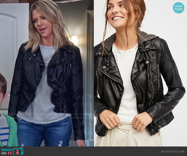 Free People Vegan Leather Hooded Jacket worn by Kaitlin Olson on The Mick