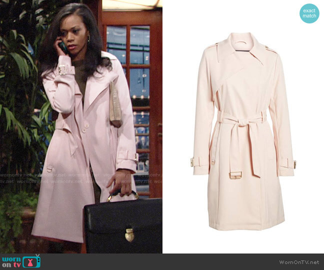 French Connection Flowy Belted Trench Coat worn by Hilary Curtis (Mishael Morgan) on The Young & the Restless