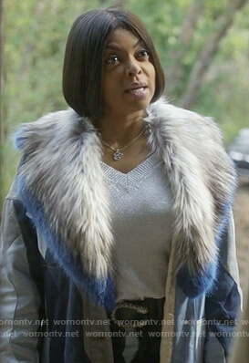 Cookie's blue denim stripe fur collar coat on Empire