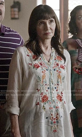 Gail's white embroidered tunic on Last Man on Earth