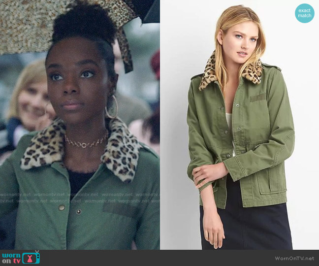 Gap Detachable faux-fur collar utility jacket worn by Ashleigh Murray on Riverdale