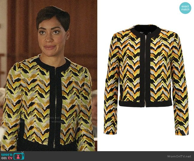 Giambattista Valli Jacquard Chevron Jacket worn by Lucca Quinn (Cush Jumbo) on The Good Fight