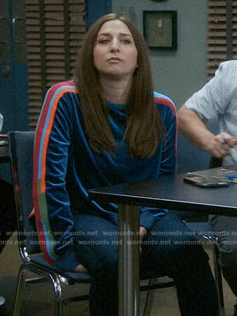 Gina's velour sweatshirt with striped sleeves on Brooklyn Nine-Nine
