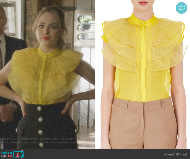 Silk Ruffled Organza Blouse by Givenchy worn by Elizabeth Gillies on Dynasty