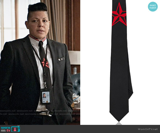 Givenchy Star-Motif Silk Necktie worn by Sara Ramirez on Madam Secretary