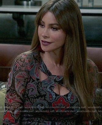 Gloria's paisley print top with cutouts on Modern Family