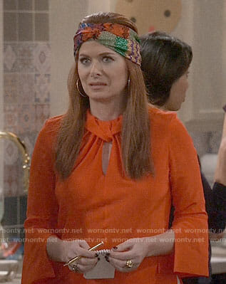 Grace's red twist front blouse and head scarf on Will and Grace