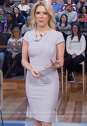 Megyn's gray folded neckline dress on Megyn Kelly Today