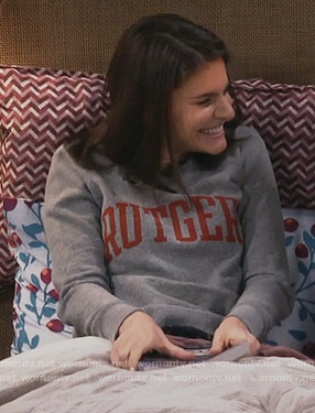 Leslie's gray rutgers print sweatshirt on Living Biblically