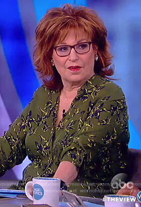 Joy's green floral print blouse on The View