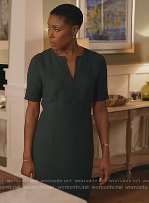 Lynn's green split neck dress on Black Lightning