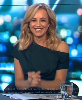 Carrie's green one off shoulder dress on The Project