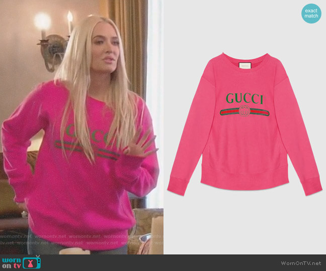 Cotton Sweatshirt with Gucci Logo by Gucci worn by Erika Girardi on The Real Housewives of Beverly Hills