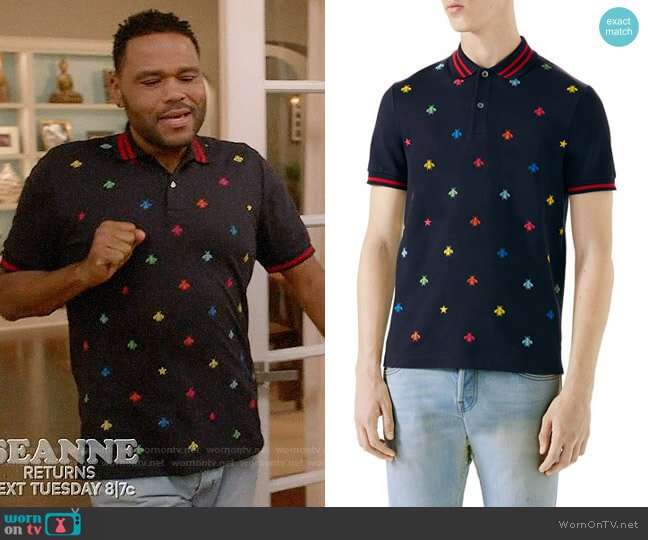 Gucci Embroidered Polo Shirt worn by Anthony Anderson on Blackish