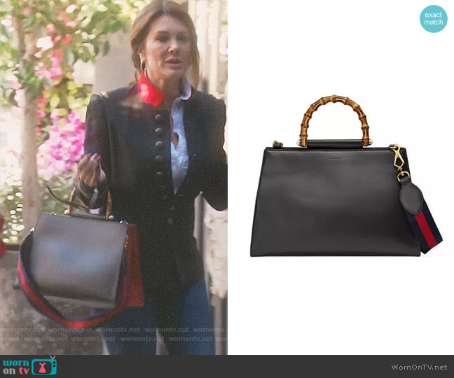 'Nymphea' Bamboo-Handle Tote Bag by Gucci worn by Lisa Vanderpump on The Real Housewives of Beverly Hills