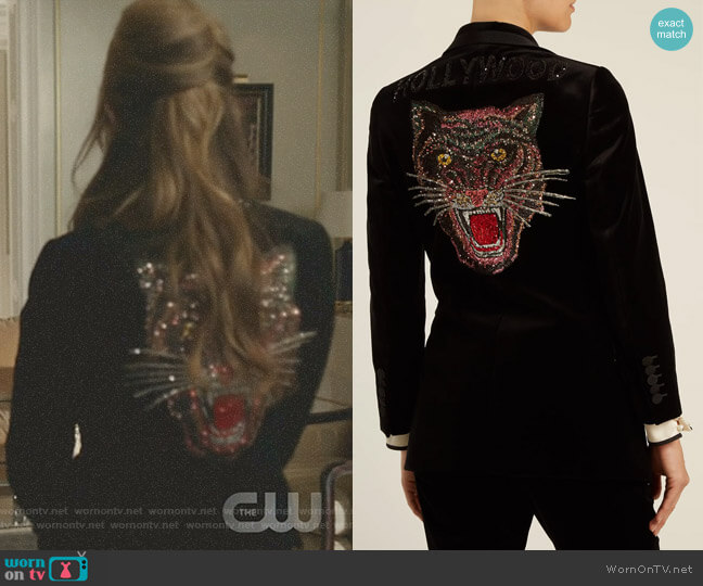 Tiger-Embroidered Velvet Jacket by Gucci  worn by Fallon Carrington (Elizabeth Gillies) on Dynasty