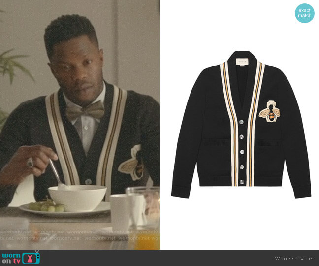 Wool Cardigan with Bee appliqué by Gucci worn by Sam Adegoke on Dynasty