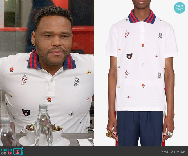 Gucci Cotton Polo with Embroideries worn by Anthony Anderson on Blackish