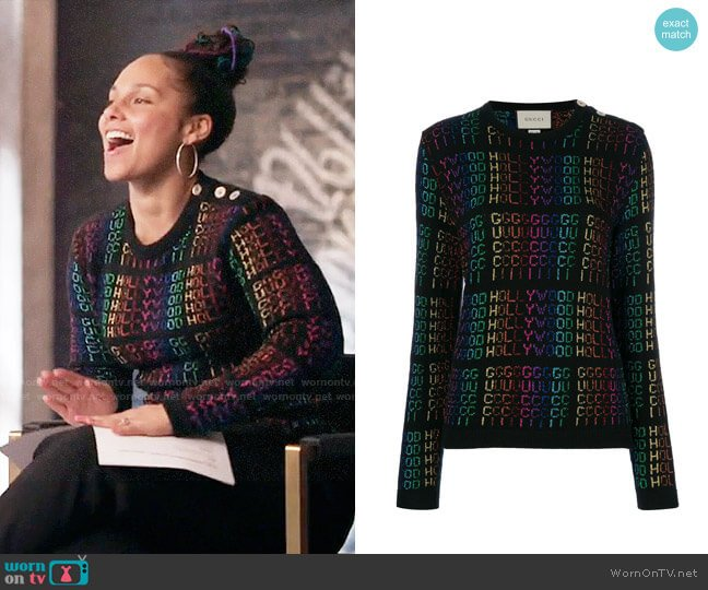 Gucci Hollywood Metallic Sweater worn by Alicia Keys on The Voice