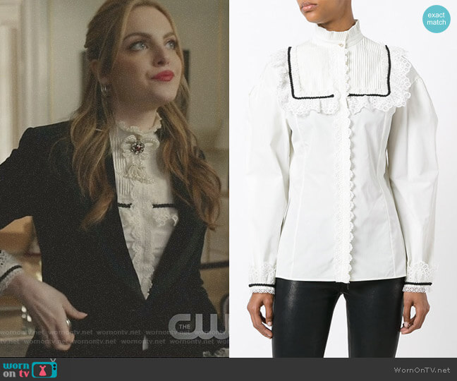 Pleat and Frill Yoke Blouse by Gucci worn by Fallon Carrington (Elizabeth Gillies) on Dynasty