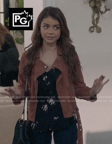 Haley's orange suede moto jacket on Modern Family