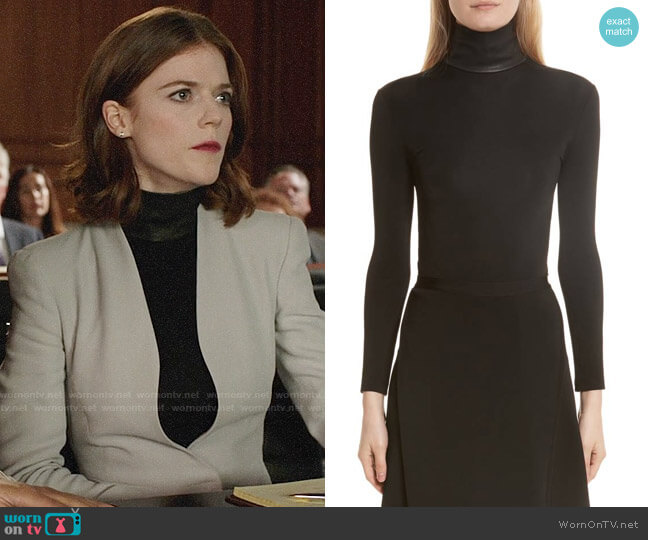 Helmut Lang Bondage Jersey Leather Neck Top worn by Maia Rindell (Rose Leslie) on The Good Fight