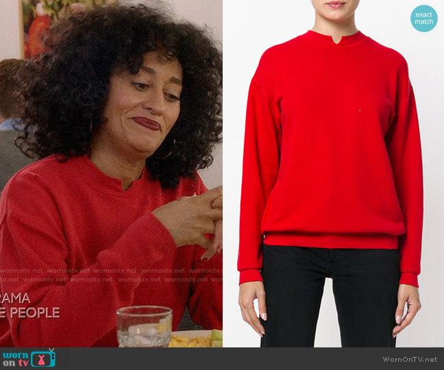 Helmut Lang Distressed Sweatshirt worn by Rainbow Johnson (Tracee Ellis Ross) on Blackish