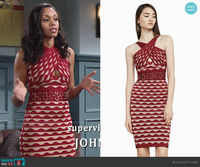 Herve Leger Kenna Pierced Scallop Jacquard Bandage Dress worn by Mishael Morgan on The Young & the Restless