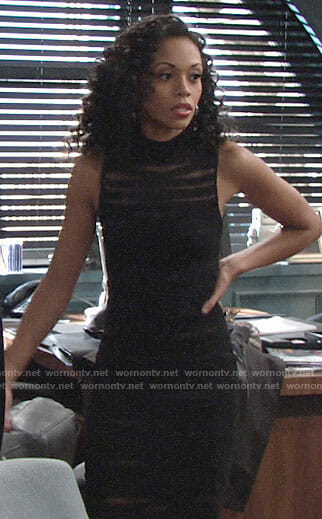 Hilary's black mesh striped dress on The Young and the Restless