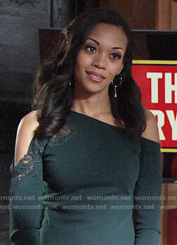 Hilary's dark green off shoulder top on The Young and the Restless