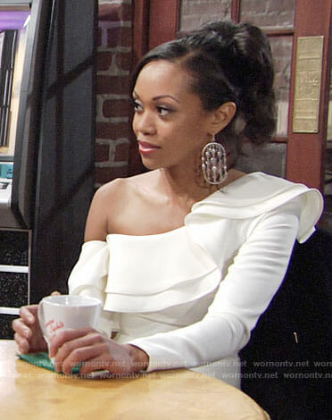 Hilary's white ruffled one-shoulder dress on The Young and the Restless