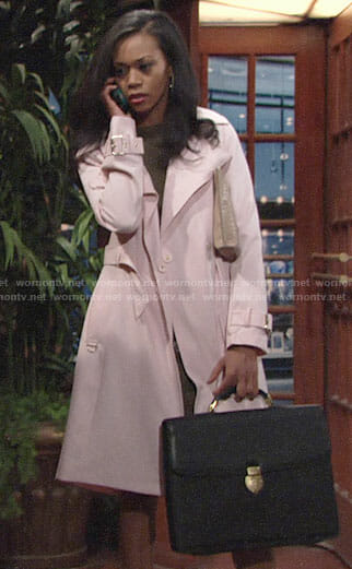 Hilary's pink trench coat on The Young and the Restless