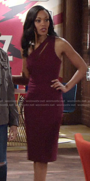 Hilary's purple one-shoulder dress on The Young and the Restless