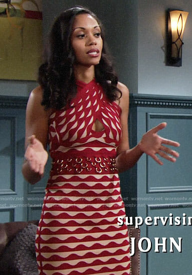 Hilary's red scalloped stripe dress on The Young and the Restless