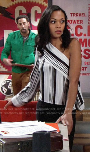 Hilary's striped one-shoulder top on The Young and the Restless