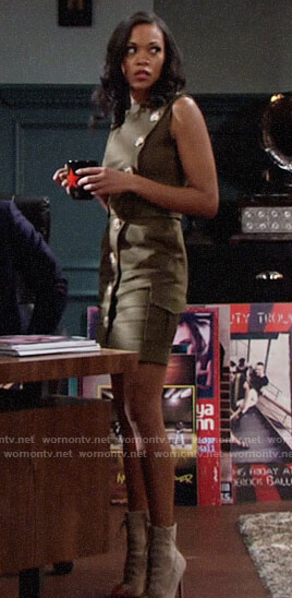 Hilary's green buttoned front dress on The Young and the Restless
