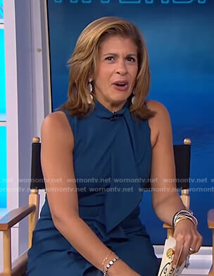 Hoda's blue ruffled sleeveless dress on Today