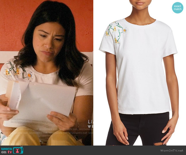 Honey Punch Daisy Embroidered Tee worn by Gina Rodriguez on Jane the Virgin
