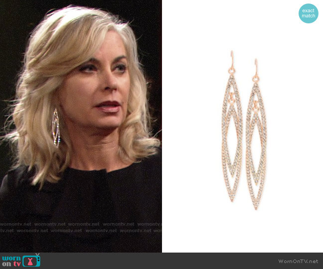 INC International Concepts Double Navette Pavé Crystal Earrings worn by Eileen Davidson on The Young & the Restless