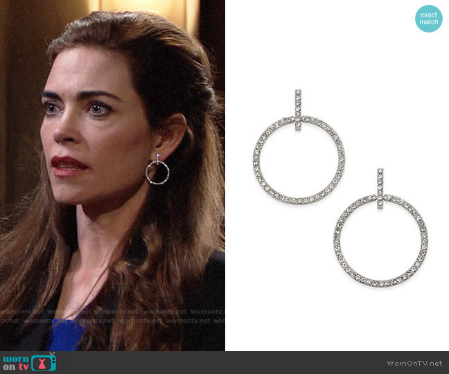 INC International Concepts Silver-Tone Pavé Circle Drop Earrings worn by Amelia Heinle on The Young & the Restless