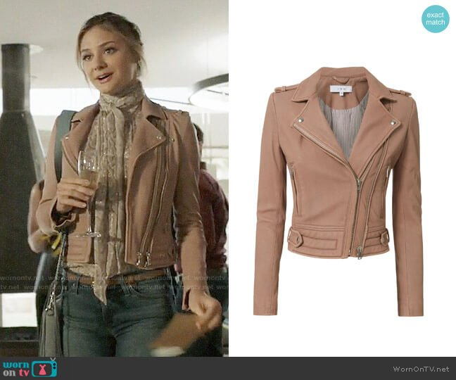 IRO Luiga Jacket worn by Christine Evangelista on The Arrangement