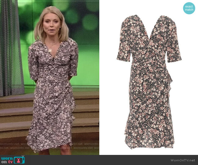 Brodie Floral-Printed Silk-Stretch Dress by Isabel Marant worn by Kelly Ripa on Live with Kelly & Ryan