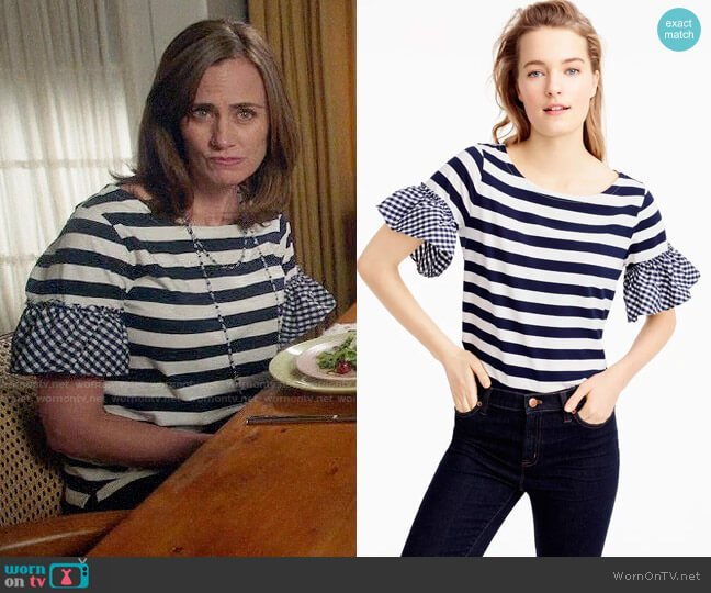 J. Crew Ruffle-Sleeve Top worn by Maya (Diane Farr) on Splitting Up Together