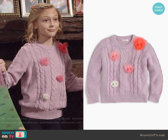 J. Crew Girls' Max the Monster Popover Sweater worn by Alyvia Alyn Lind on The Young & the Restless