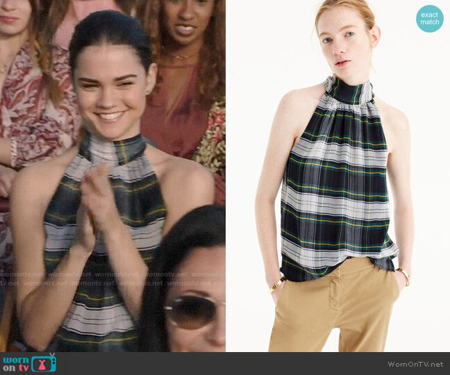 J. Crew Tie Neck Top in Stewart Plaid worn by Callie Jacob (Maia Mitchell) on The Fosters