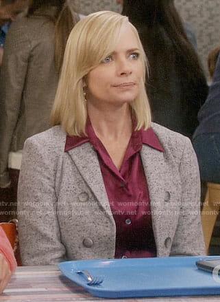 Jill's pink satin shirt and grey blazer on Mom