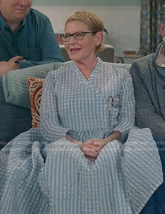 Joan's blue gingham wrap dress on Life in Pieces