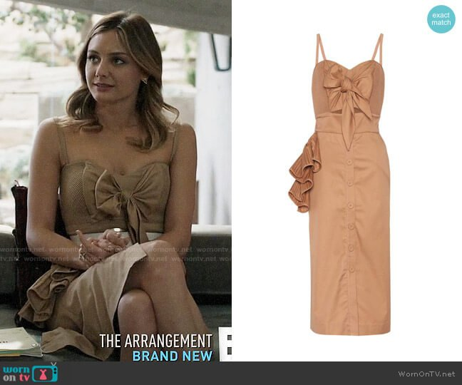 Johanna Ortiz Soledad Dress worn by Megan Morrison (Christine Evangelista) on The Arrangement