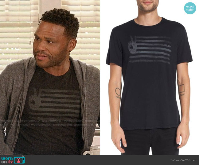 John Varvatos 'Peace Flag' Graphic T-Shirt worn by Andre Johnson (Anthony Anderson) on Blackish