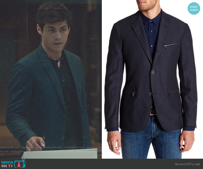 Zip Pocket Blazer by John Varvatos Star USA worn by Matthew Daddario  on Shadowhunters
